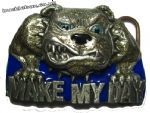 Make my Day Bulldog Belt Buckle + display stand. Code BG8